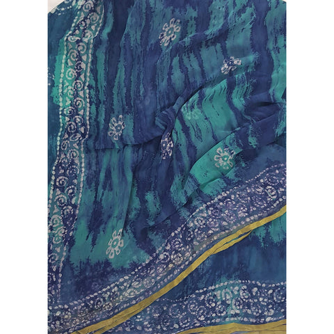 Blue color Shibhori and Batik Pure Chiffon Saree with Golden Zari Border - Vinshika