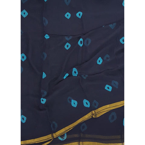 Dark Blue Color Bandhani Pure Chiffon Saree with Golden Zari Border - Vinshika