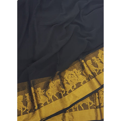 Black Color Chiffon Saree with Golden Zari Border - Vinshika