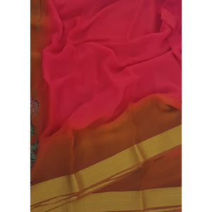 Tomato red and Yellow Color Pure Chiffon Saree with Golden Zari Border