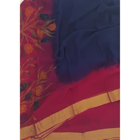 Royal Blue and Pink Color Pure Chiffon Saree with Golden Zari Border