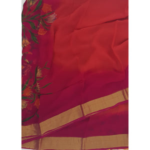 Orange and Pink Color Pure Chiffon Saree with Golden Zari Border