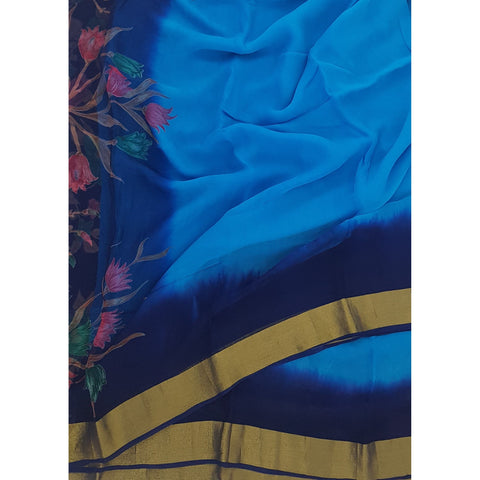 Sky Blue and Navy Blue Color Pure Chiffon Saree with Golden Zari Border - Vinshika