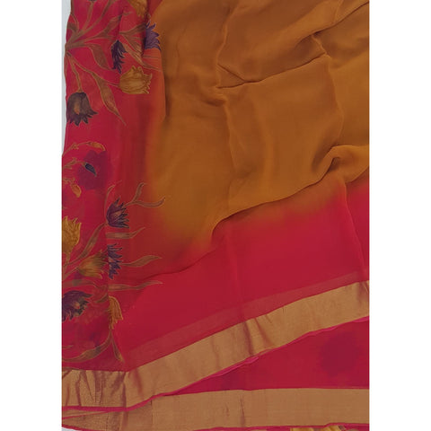 Yellow and Blossom Color Pure Chiffon Saree with Golden Zari Border