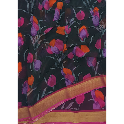Black and Pink Tulips Floral Digital Print Pure Chiffon Saree with Golden Zari Border - Vinshika