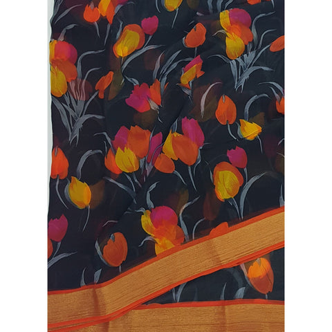 Black and Orange Tulips Floral Digital Print Pure Chiffon Saree with Golden Zari Border - Vinshika