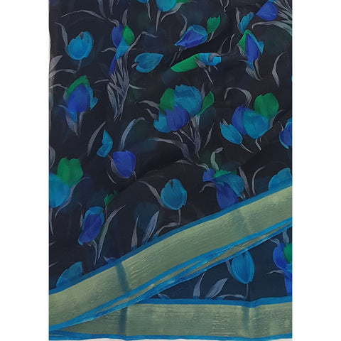 Black and Sky-Blue Tulips Floral Digital Print Pure Chiffon Saree with Golden Zari Border - Vinshika
