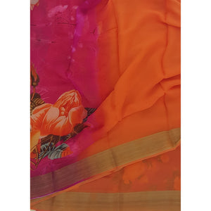 Orange and Pink Pure Chiffon Saree with Golden Zari Border