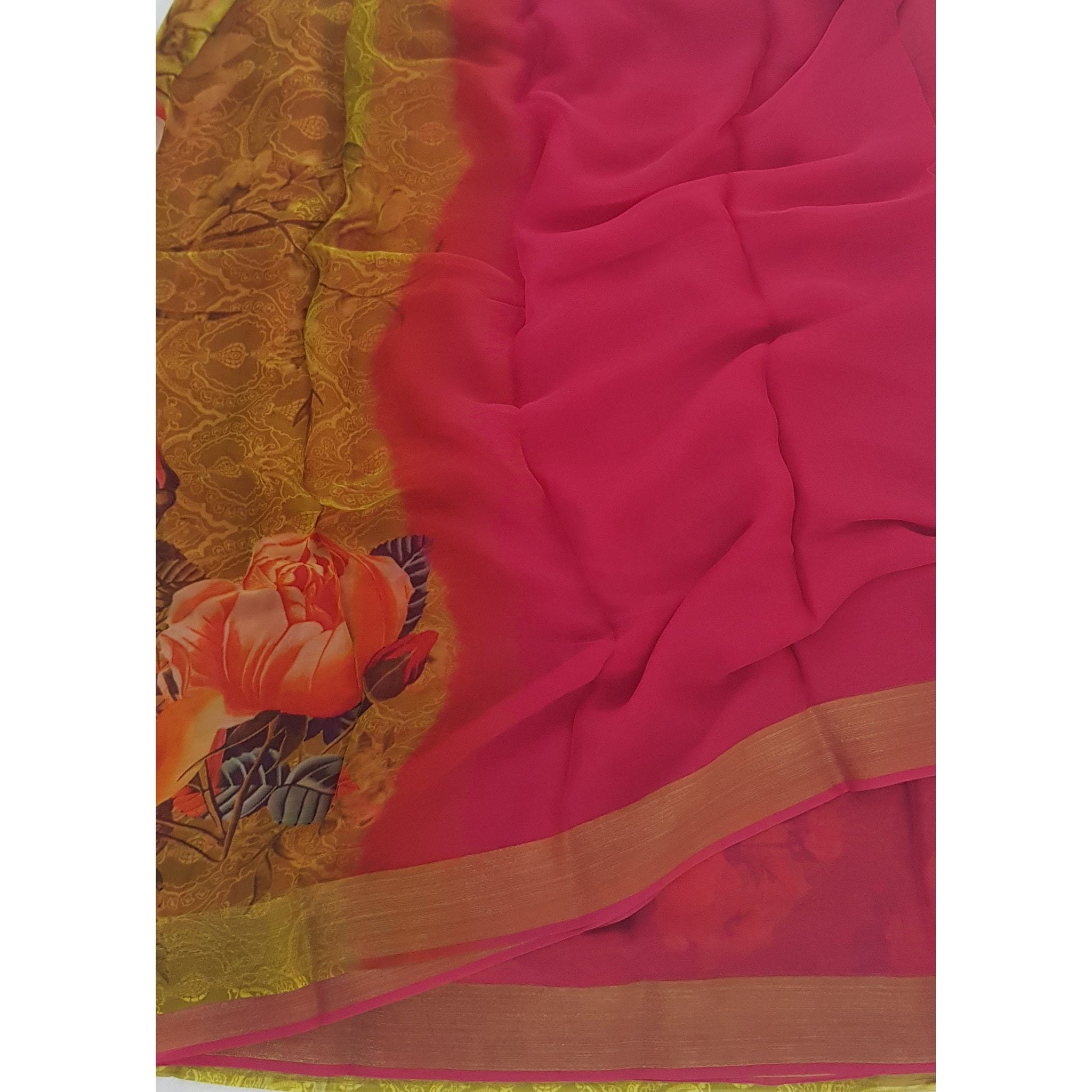 Pink and Yellow Pure Chiffon Saree with Golden Zari Border