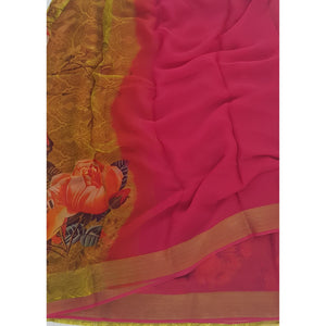 Pink and Yellow Pure Chiffon Saree with Golden Zari Border - Vinshika