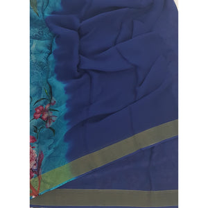 Navy Blue and Sky Blue Pure Chiffon Saree with Golden Zari Border