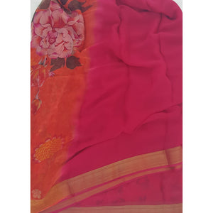 Pink and Orange Pure Chiffon Saree with Golden Zari Border