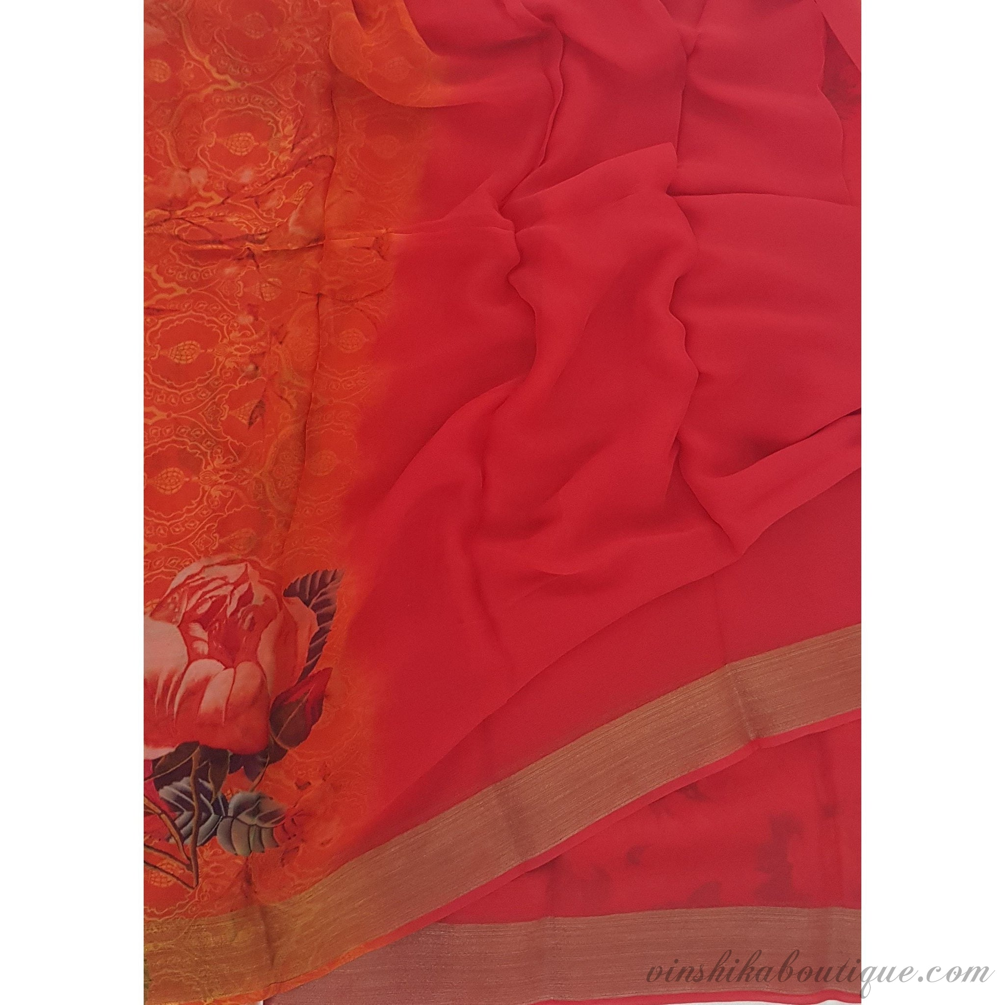 Tomato Red and Orange Pure Chiffon Saree with Golden Zari Border