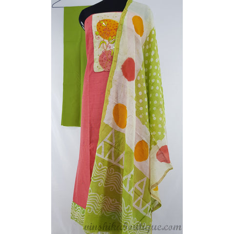 Raw silk patch work peach and green color salwar set