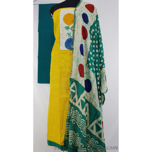 Raw silk patch work yellow and peacock green color salwar set
