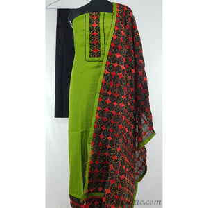 Spun Cotton phulkari patch work green and black color salwar set - Vinshika