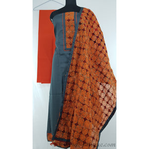 Spun Cotton phulkari patch work ash and orange color salwar set - Vinshika