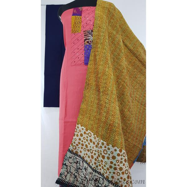 Cotton banjara kantha patch work peach and blue color salwar set - Vinshika