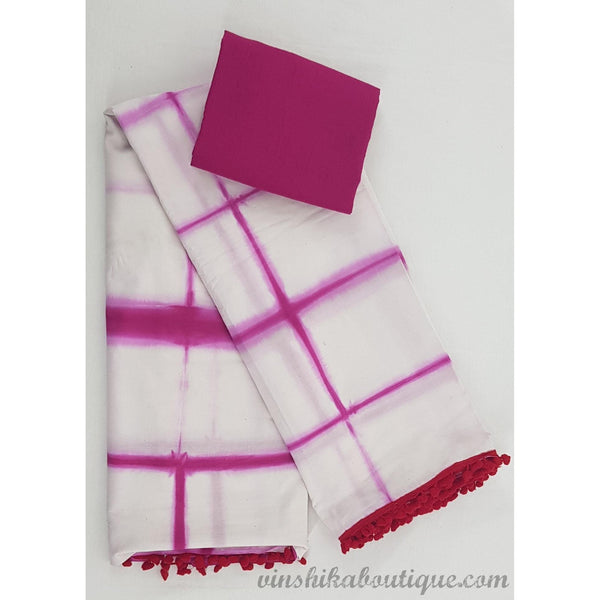 Bagru white and pink color mul cotton pom pom saree - Vinshika