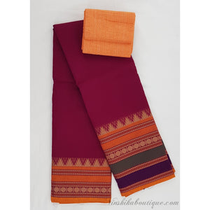 Kanchi cotton saree with large thread border