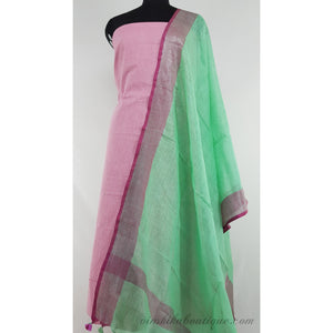 Linen by Linen dupatta with mangalagiri plain Cotton top / Salwar set