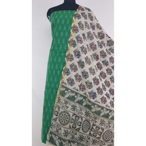 Kalamkari silk dupatta with Ikat Cotton top / Salwar set