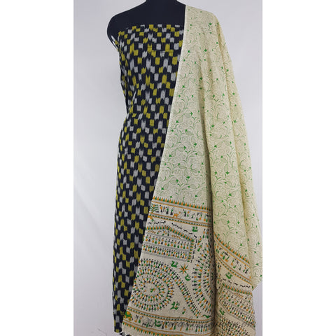 Khadi cotton dupatta with ikat cotton top / Salwar set
