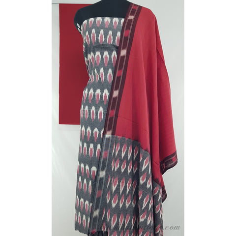 Handwoven ikat cotton salwar set - Vinshika