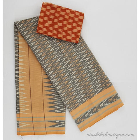 Grey and mustard color handwoven mercerized ikat cotton saree - Vinshika