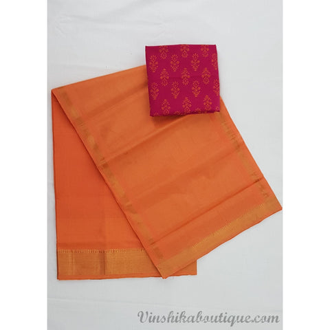 Mango color Mangalagiri cotton saree with golden zari border