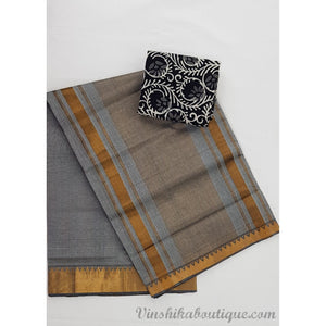Grey color Mangalagiri cotton saree with golden zari border - Vinshika
