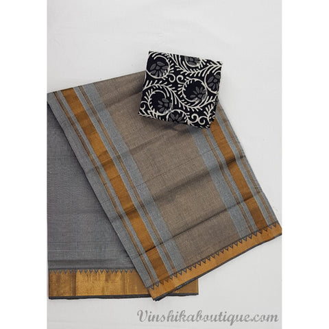 Grey color Mangalagiri cotton saree with golden zari border