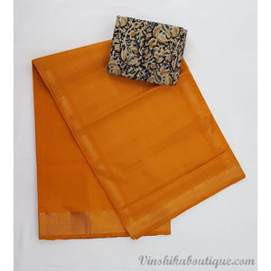 Orange color Mangalagiri cotton saree with golden zari border