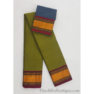 Green and Blue color Narayanpet paper silk saree