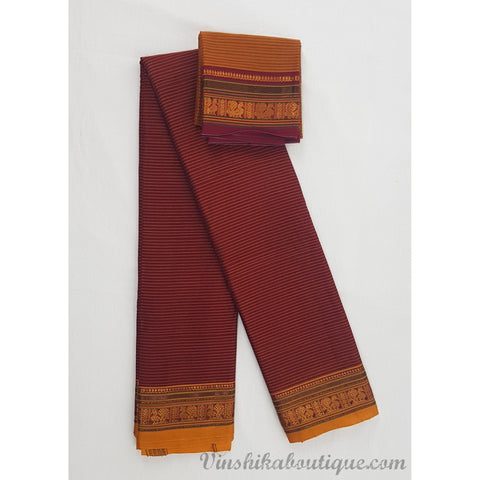 Maroon and Yellow color Narayanpet cotton silk saree - Vinshika