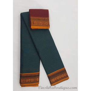 Peacock blue and Maroon color Narayanpet paper silk saree