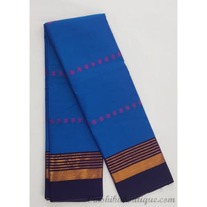 Blue color Narayanpet paper silk saree - Vinshika