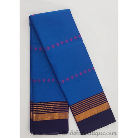 Blue color Narayanpet cotton silk saree - Vinshika