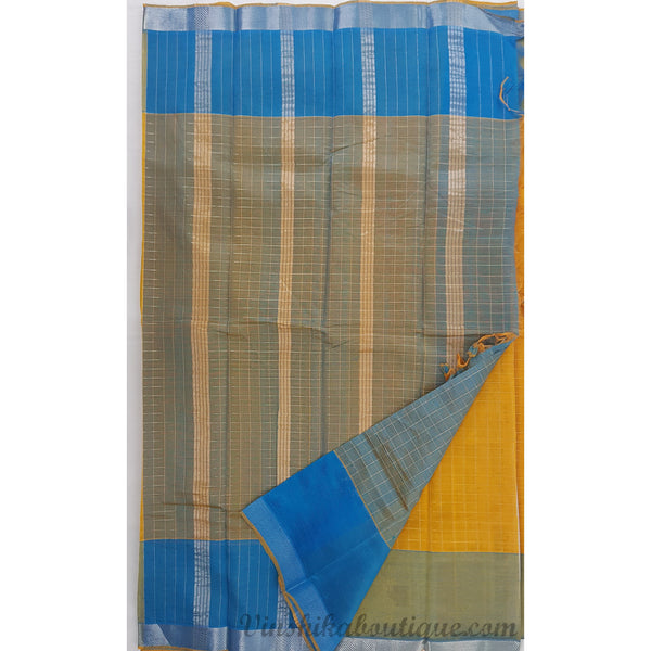Yellow and Blue color Mangalagiri silk saree with silver zari border - Vinshika