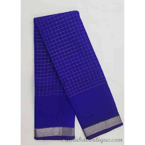 True Blue color Mangalagiri silk saree with silver zari border