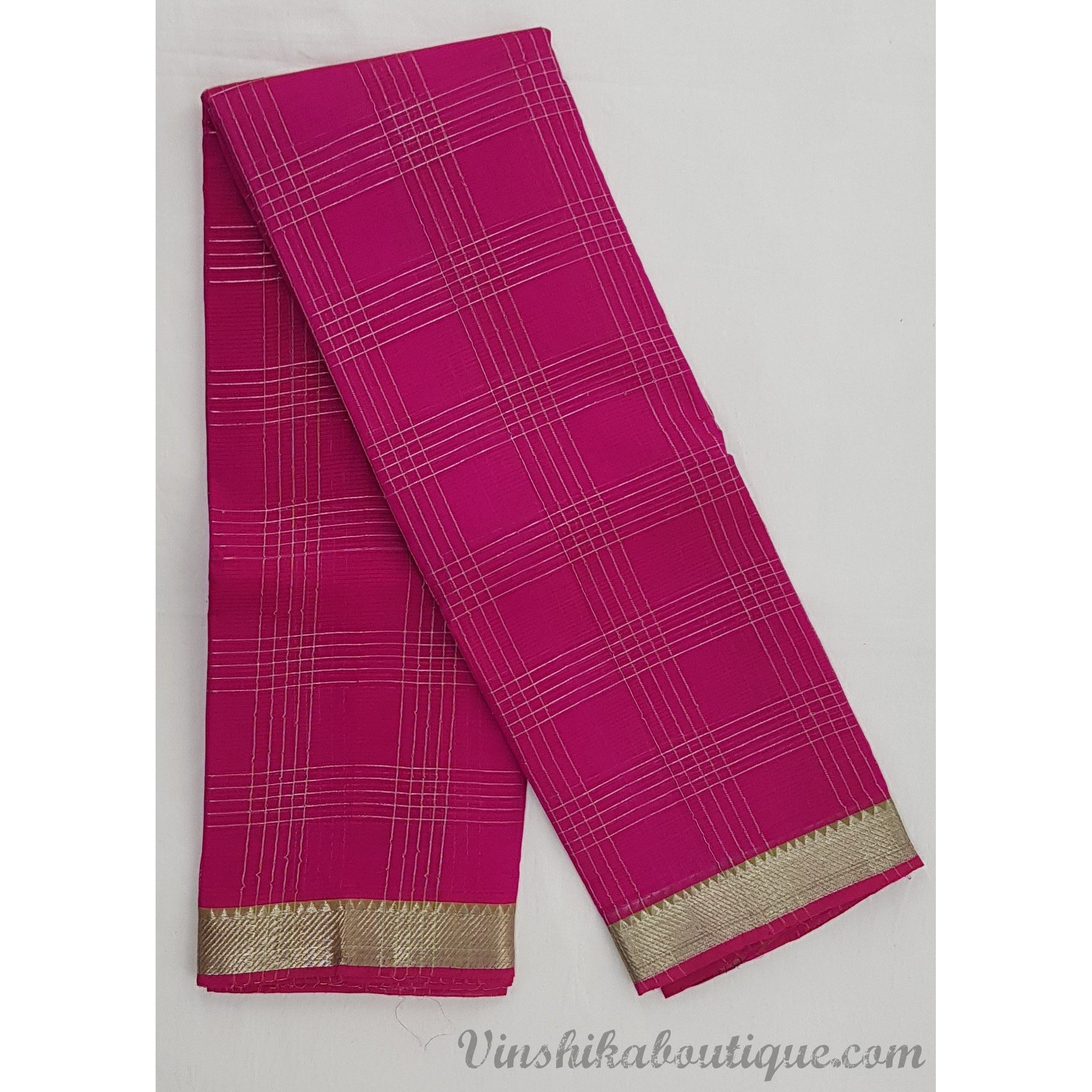 Pink and green color Mangalagiri silk saree with silver zari border - Vinshika