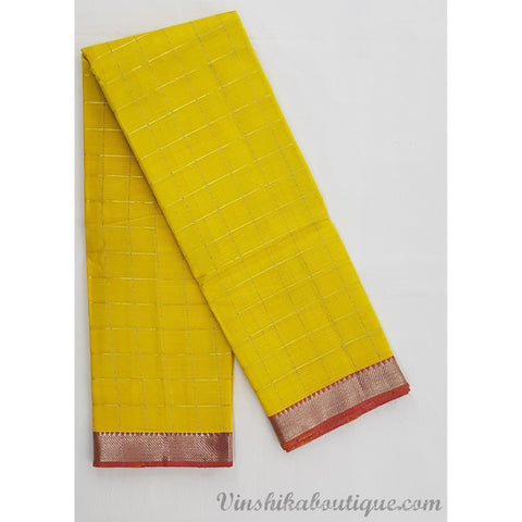 Yellow and Pink color Mangalagiri silk saree with silver zari border