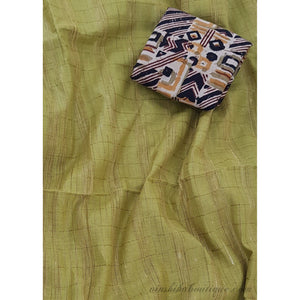 Olive Green color Gicha khadi cotton saree with kalamkari blouse
