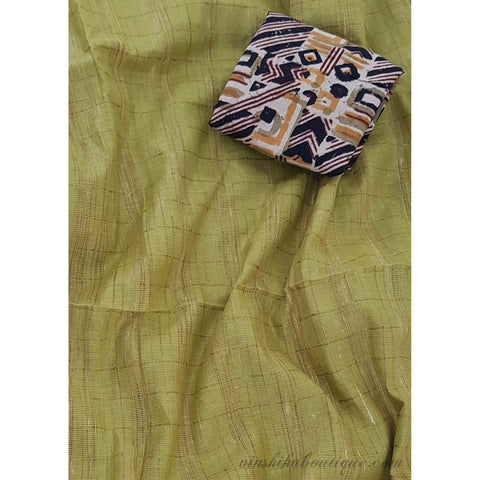 Mangalagiri cotton saree with kalamkari blouse