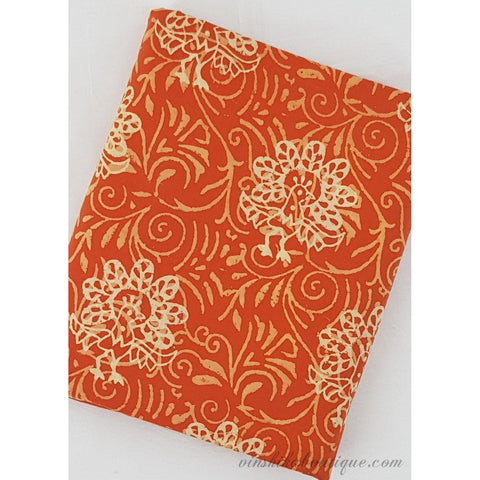 Orange floral hand block print handloom Bagru cotton fabric - Vinshika