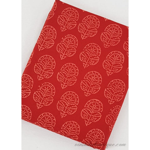 Red floral hand block print handloom Bagru cotton fabric - Vinshika