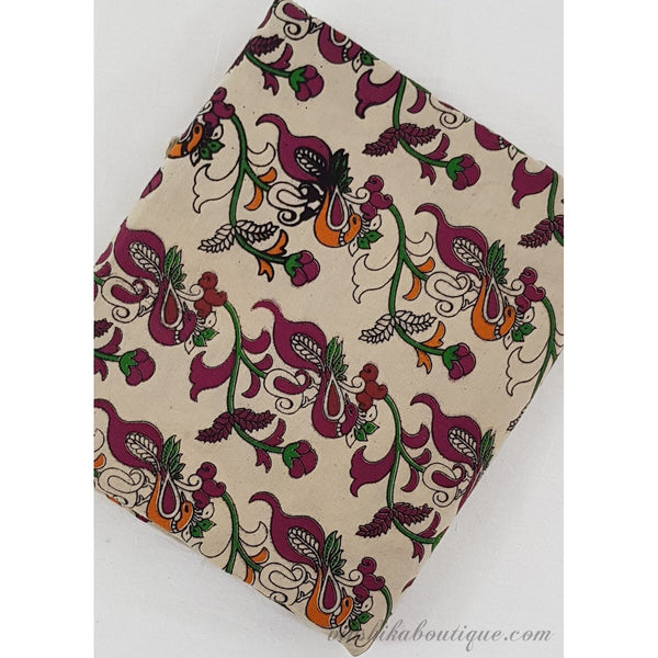 Hand block printed kalamkari cotton fabric - Vinshika