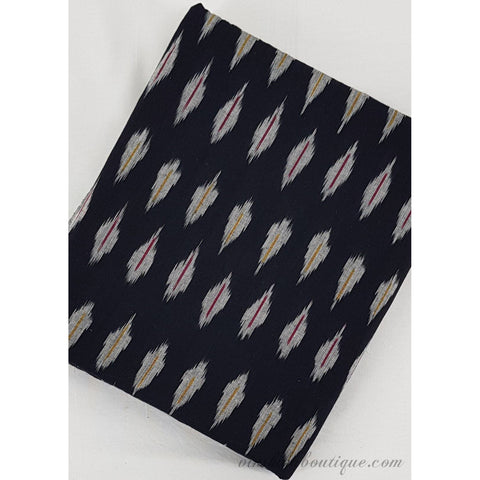 Black colour Ikat handloom cotton fabric - Vinshika