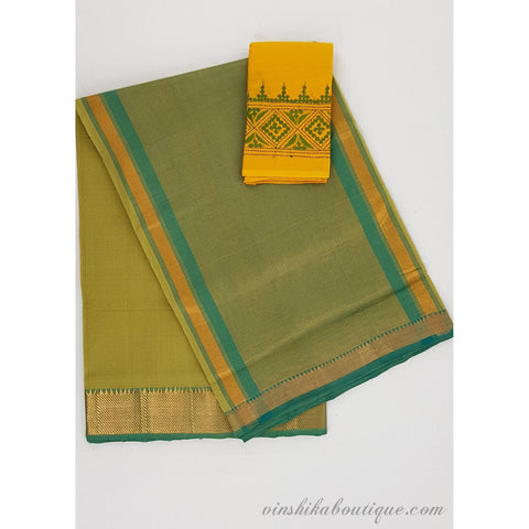 Yellow Green color Mangalagiri cotton saree with golden zari border