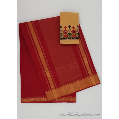 Red color Mangalagiri cotton saree with golden zari border